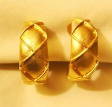 Handsome Shiny Raised Crossed Xes Matte Goldtone Hoop CLIP Earrings