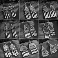 Vintage Bohemian Silver Hook Ethnic Tassel Gypsy Dangle Earring Women Earrings