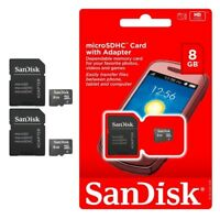SANDISK 8GB MicroSD  SDHC SD FLASH TF MEMORY CARD  WHOLESALE LOT OF 2