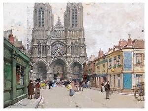 Paris France Notre-Dame de Reims Cathedral Tile Mural Kitchen Backsplash Ceramic
