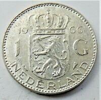 1966 NETHERLANDS Juliana, Silver 1 Gulden grading EXTRA FINE.