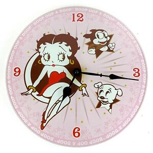 """Betty Boop Frameless Borderless Wall Clock 12"""" Bimbo Pudgy Pink AS IS Parts Only"""