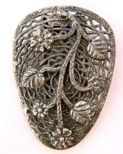 Vintage Dress Scarf Clip Art Deco Nouveau Filigree Leaf Design Silver Tone