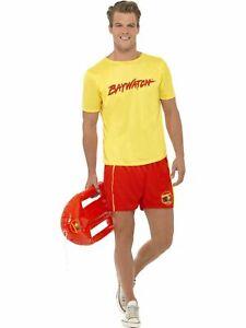 Licensed Mens Smiffys Baywatch Costume Lifeguard Patrol Beach Fancy Dress Party