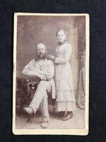 Victorian Carte De Visite CDV: Couple: Father Daughter: Workman Smock: Worcester