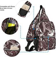 Sling Backpack Hiking Daypack Pattern Chest Shoulder Bag with USB Charging Port