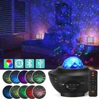 LED Starry Sky Projector Light USB Galaxy Star Night Lamp with Ocean Wave Remote