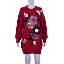 0ebeaa615b4cb7 DOLCE & GABBANA Fairytale Virgin Wool Sweater Dress Flowers Crystals Red  07131