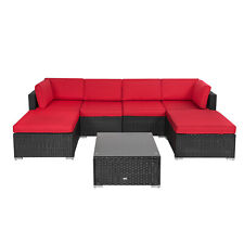 7 Pcs Outdoor Patio Furniture Sectionals Wicker Rattan Sofa Set W/Cushions Red