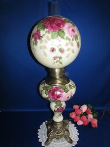 "ANTIQUE VICTORIAN HAND PAINTED GWTW BANQUET PARLOR LAMP BALL GLOBE 33 1/2"" 3 WAY"