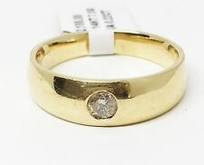 14K Yellow Gold One Diamond Wedding Band, Ring Size 10.5, 7.5 Grams, Dia 0.22 CT