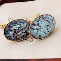 Vintage - 1950s Aqua Blue & Gold Confetti Glass - Oval Gold Plated Cufflinks