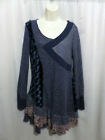 Sacred Threads Artsy Knit Tiered Tunic Top Patchwork Size L Large