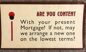 ORIGINAL 1920s UNUSUAL TYPOGRAPHIC SMALL SHOP POSTER - ARE YOU CONTENT