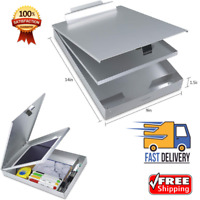 Metal Clipboard Case With Storage Box Aluminum Snapak Form Holder Self-Locking