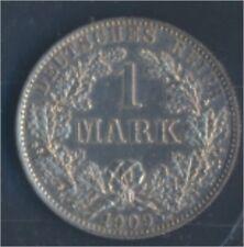 alemán Imperio Jägernr: 17 1909 Un Flor di cuño Plata 1909 1 marcos gran(7859338