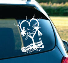 """Jack and Sally Skellington in love nightmare before christmas car decal 8"""" White"""