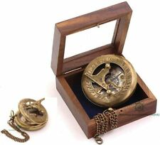 Antique Nautical Replica Brass Sundial Compass /Wooden Glass Top Box Collectible
