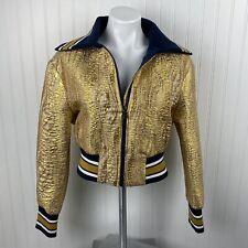 BCBG MAXAZRIA Metallic Jacquard Baseball Varsity Jacket Coat Gold Size M $348