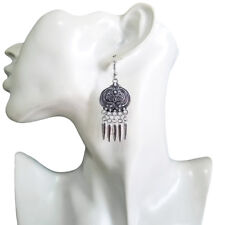 Chandelier Dangle Hook Earrings Vintage Women Bohemian Hippy Antique-Silver-Tone