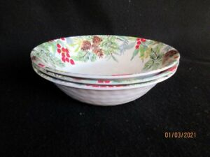 NWT Robert Stanley Home Christmas 3 Melamine Soup/Cereal Bowls Pinecones/Berries