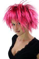Wig Ladies Men's Punk 80er Punk Wave Hairstyle Tall Backcombs Black Pink