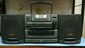 Aiwa Ca-dw305 HUGE!! BOOMBOX GHETTOBLASTER CASSETTE CD RADIO PORTABLE PLAYER 90S