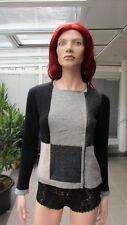 MANSTED - stylische Strickjacke mit RV, grau/schwarz grafisches Muster, Gr. M
