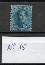Timbre BELGIQUE - COB 15 (o) - 1863 - Oblitération Losange de points - 2 photos
