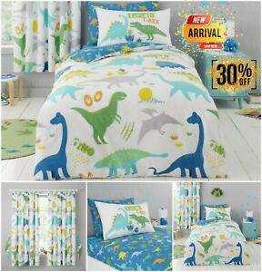 KIDS ROARSOME DINOSAUR Reversible Quilt DUVET COVER SET Fitted Sheet OR Curtains