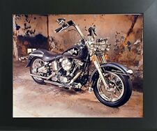 Harley Davidson Black Motorcycle Wall Art Contemporary Black Framed Picture