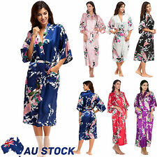 FLORAL SATIN ROBE Kimono Dressing Gown Vintage Wedding Bridal Bridesmaid Nightie