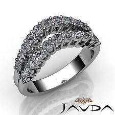 White Gold Round Diamond Ring 1.55Ct Womens Double Line Half Wedding Band 18k