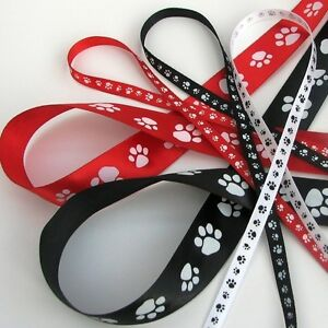 Paw print satin ribbon in Red White Black 6mm or 22mm 1 or 3m