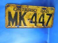 ONTARIO LICENSE PLATE 1931 MK 447 VINTAGE CANADA TAG CAR COLLECTOR GARAGE SIGN