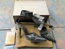 "Auth Gucci Brown Metallic Python Leather ankle strap 4"" shoes Women US 7B w/box"