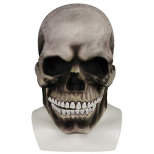 Full Head Skull Mask Helmet With Movable Jaw Party Halloween Prop Headgear