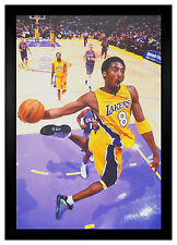Kobe Bryant Lakers 8 Dunk 24x36 Framed Poster (F2-1025)