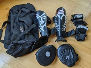 MMA Fighter bundle:Twins Shin Guards, Windy MMA Fight gloves, Pro-Mex focus pads