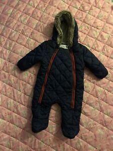 Baby Boy's Snowsuit Age 0-3 Months - Zip Up  -Fit Height 55-62cm -Navy Blue - TU