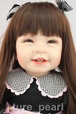"22"" Reborn Cute Gift Toddler Doll Lifelike Princess Girl Vinyl Long Hair Baby"