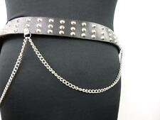 "Unisex Vintage Studded Leather Chain Belt Black 42"" GRADE A BA435"