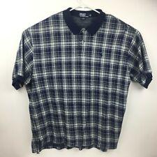 Vtg Polo By Ralph Lauren Navy Blue Plaid Polo Shirt Size 2XL