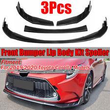 For 2019-2020 Toyota Corolla Matte Black Front Bumper Lip Spoiler Trim 3PCS
