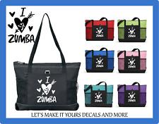 I LOVE ZUMBA CUSTOM TOTE PURSE GYM TRAVEL DANCE GYM SCHOOL BAG HEARTS