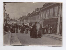 PHOTO ANCIENNE Groupe Foule 1900 France Marché Devanture Magasin Boutique