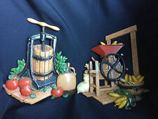Homco Autumn/Fall Metal Wall Hanging Decoration Collectible Lot of 2
