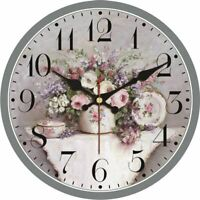 Kitchen Silent Wall Clocks Art Vintage Floral Designed Watch Home Decoration New