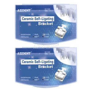 2 X Dental Ceramic Self-Ligating Third Generation Bracket MBT 0.022 Hooks 345