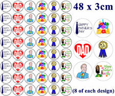 48 x FATHERS DAY EDIBLE FAIRY CUP CAKE TOPPERS * FREE DELIVERY INCLUDED!!*